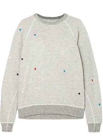 The Great. The College Embroidered Distressed Slub Cotton-blend Jersey Sweatshirt - Light gray