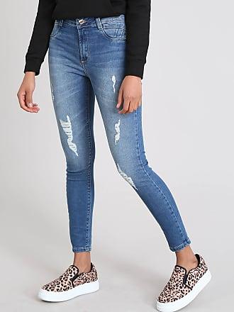 Sawary Calça Jeans Feminina Sawary Cigarrete com Rasgos Azul Médio