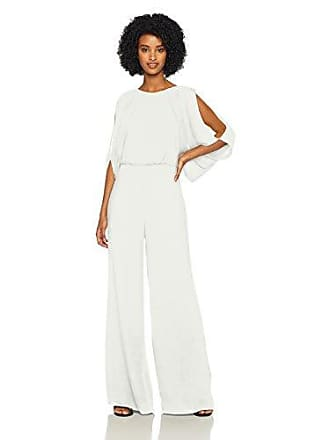 9e8f00f3a3c3 Halston Heritage Womens Cold Shoulder High Neck Draped Open Back Jumpsuit,  Chalk, 6