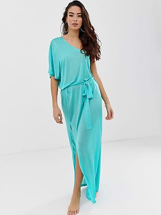 Asos one shoulder beach slinky maxi dress - Blue