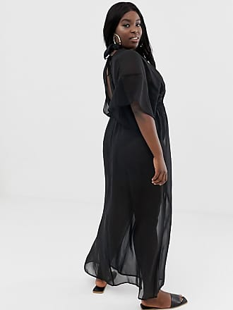 0c2775b20d29bf Asos Curve ASOS DESIGN Curve - Schwarzes Maxi-Strandkleid aus recyceltem  Chiffon mit Kimonoärmeln und