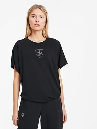 Puma Scuderia Ferrari Big Shield Womens T-Shirt, Black, size X Large, Clothing