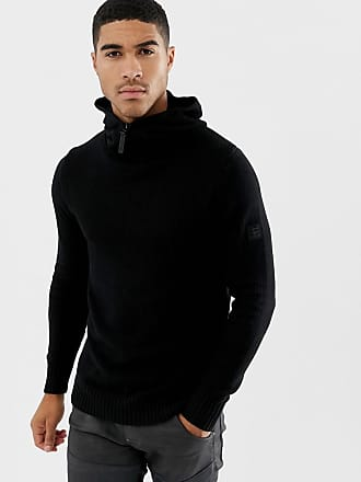 G-Star half zip knitted hoodie in black - Black