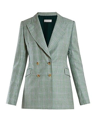 Gabriela Hearst Angela Double Breasted Houndstooth Cashmere Blazer - Womens - Green Multi