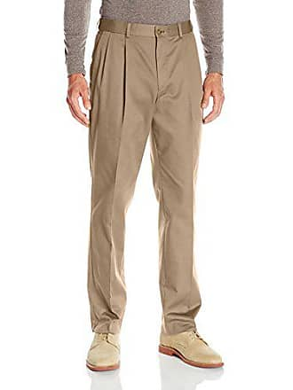 Louis Raphael Mens Khakis Straight Fit Comfort Waist Pleated Pant, 40W x 30L