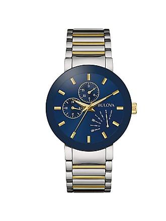 ff682b085 Bulova Mens 2-Tone Blue Dial Chronograph Stainless Steel Bracelet Watch
