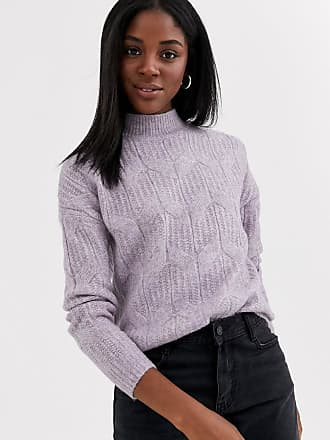 Pimkie cable pattern knitted jumper in lilac-Purple