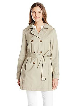 1d1ef268491c T Tahari Womens Fit and Flare Trench with Eyelit Back, Taupe, Medium. USD  $53.71