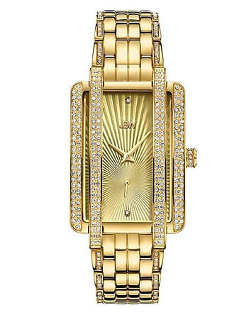 Zales Ladies JBW Mink 1/8 CT. T.w. Diamond and Crystal 18K Gold Plate Watch with Rectangular Dial (Model: J6358B)