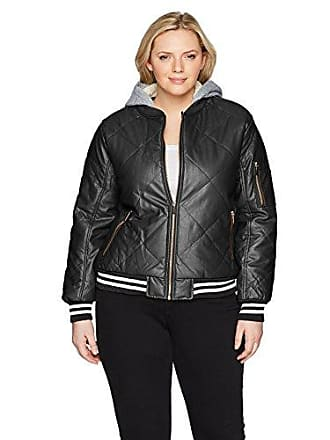 Yoki Womens Plus Size Quilted Pu Bomber with Sherpa Lined Hood, Black 1X