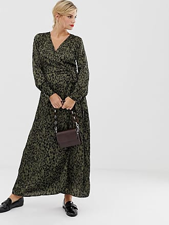 Liquorish midi wrap dress in leopard print - Multi