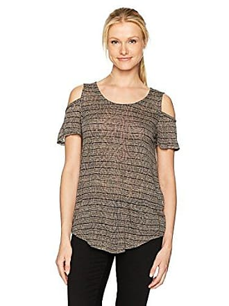 Lucky Brand Womens Stripe Cold Shoulder Top, Charcoal, Large