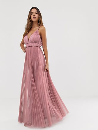Asos cami pleated tulle maxi dress - Pink