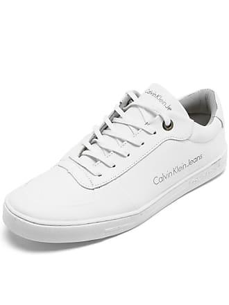 Calvin Klein Sapatênis Couro Calvin Klein Logo Branco 17956c70445