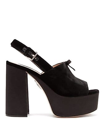 4e71f9e4109 Miu Miu Peep Toe Velvet Platform Sandals - Womens - Black