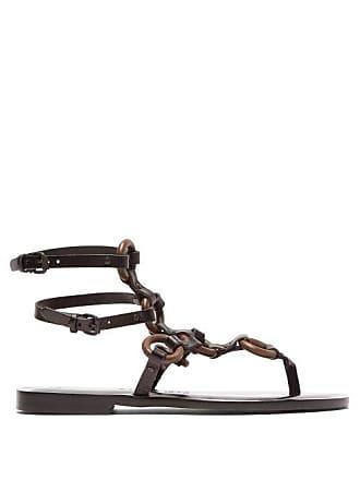 ÁLVARO GONZÁLEZ Andorra Leather Gladiator Sandals - Womens - Black