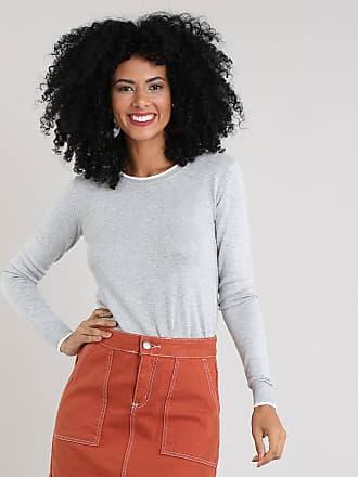 Basics Suéter Feminino Básico em Tricô Decote Redondo Cinza Mescla Claro