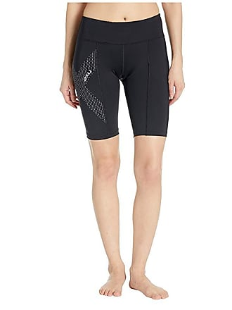 2XU Mid-Rise Compression Short (Black/Dotted Reflective Logo) Womens Shorts