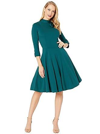 Unique Vintage Knit 3/4 Sleeved Parker Flare Dress (Teal) Womens Dress