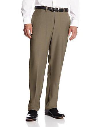 Haggar Mens Repreve Stria Hidden Expandable Waist Plain Front Dress Pant, Khaki,44x32