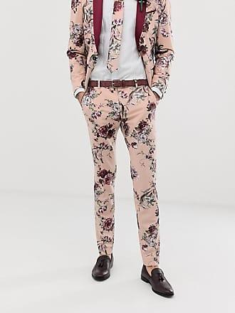 Twisted Tailor Pantaloni da abito super skinny rosa pallido a fiori