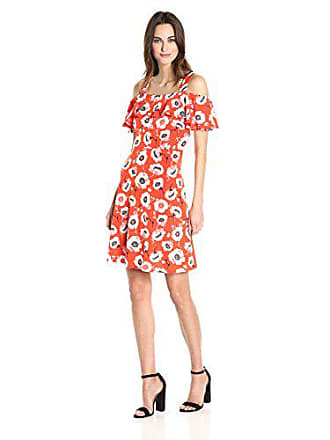 Adrianna Papell Womens Floral Cold Shoulder Dress, Red/Multi, S