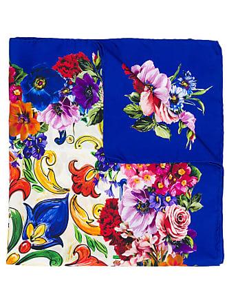 Dolce & Gabbana Lenço de seda com estampa Majolica - Azul