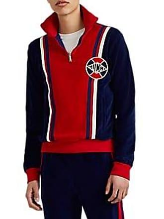 d4b43929905b57 Gucci Mens Cotton-Blend Velour Quarter-Zip Track Jacket - Blue Size L