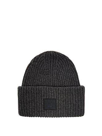 6a58e33a Acne Studios Face Ribbed Knit Wool Beanie Hat - Womens - Grey