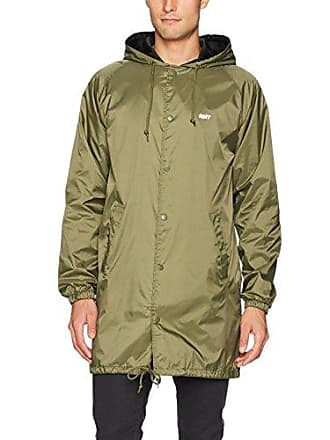 Obey Mens Creeper Wall Hooded Coach Trench Jacket, Army, M