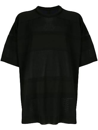 Juun.J Camiseta oversized listrada - Preto