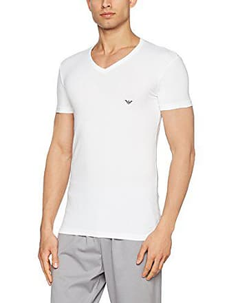 Emporio Armani Mens Eagle V-Neck Tee, White Large