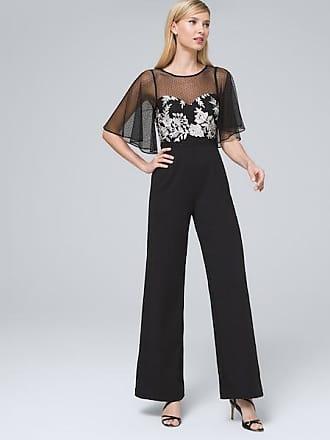 White House Black Market Womens Adrianna Papell Illusion-Neckline Jumpsuit by White House Black Market, Black/White, Size 14