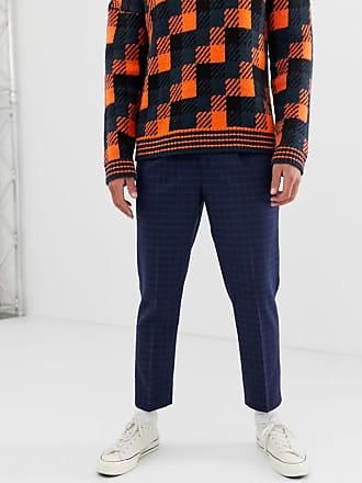 0ebb1b3cfb01 Asos tapered crop smart pants in navy wool mix windowpane check - Navy