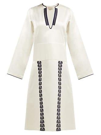 Zeus + Dione Milos Embroidered Silk Noil Midi Dress - Womens - Ivory Multi