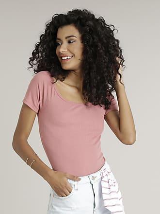 Basics Blusa Feminina Básica Cropped com Decote Ombro a Ombro Manga Curta Rosê