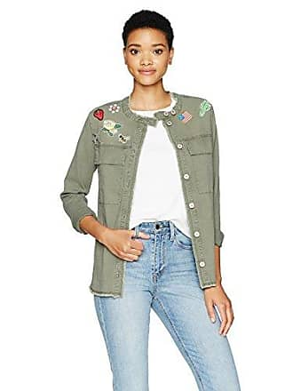 William Rast Womens Willliam Rast-Knotto Shirt Jacket with Patches, Olive Green, L