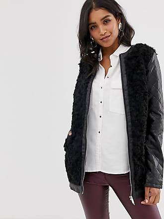 Vila faux fur zip front coat-Black