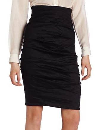 Nicole Miller Womens Sandy Cotton Metal Skirt, Black, 0