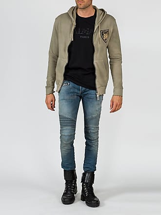 Balmain Grey Balmain Badge Hoodie - The Webster