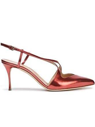 11a3e3c6143 Sergio Rossi Sergio Rossi Woman Cutout Metallic Leather Slingback Pumps  Copper Size 37