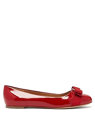 8f272f4b8 Salvatore Ferragamo Varina Patent Leather Ballet Flats - Womens - Red