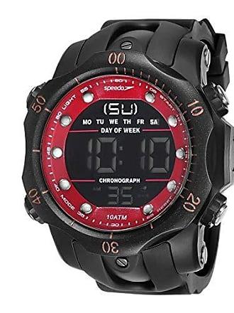 Speedo Relógio digital Speedo masculino a prova dágua Preto/vermelho