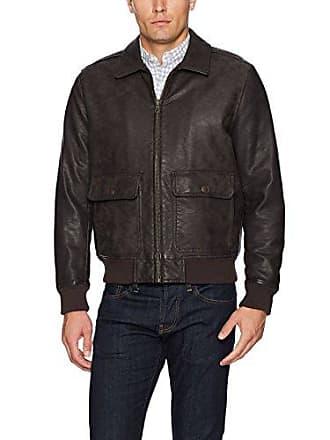 b89da1f41 Tommy Hilfiger Mens Buffed Cow Faux Leather Sherpa Aviator Bomber Jacket,  Dark Brown, Small