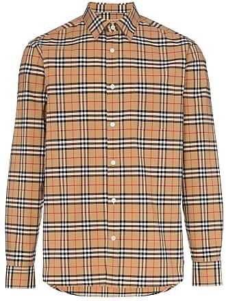 Burberry check print button down cotton blend shirt - Brown 81b1bd6efa8