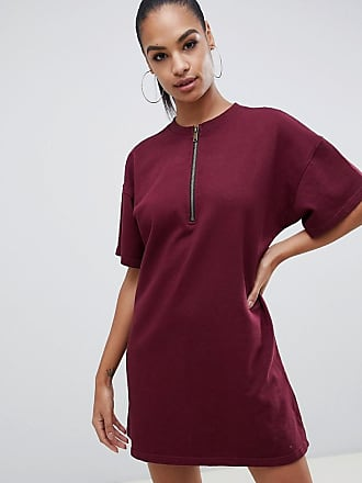 7b2fd0f5da Missguided zip down oversized t-shirt dress in burgundy