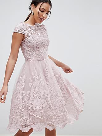 Chi Chi London premium lace midi prom dress with bardot neck in mink - Pink