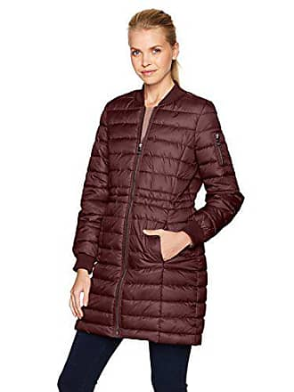 Kenneth Cole Womens Lightweight Anorak Jacket Puffer Varsity with Rib Knit Trims, Sangria, XS