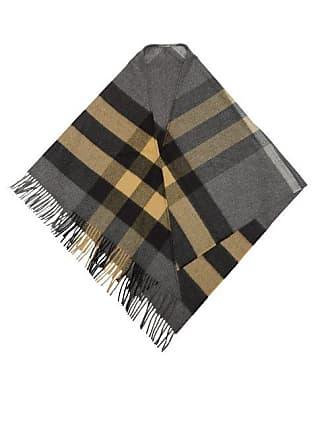 Burberry Checked Cashmere Bandana Scarf - Womens - Grey