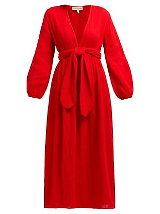 6ad9c30cc52e8 Mara Hoffman Luna V Neck Organic Cotton Gauze Midi Dress - Womens - Red